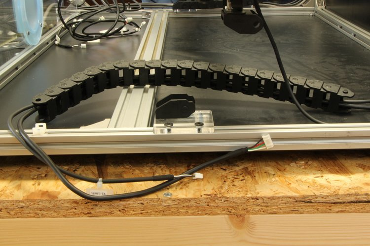 putting y-motor-r cable and x2-limit cable through y-axis cable carrier