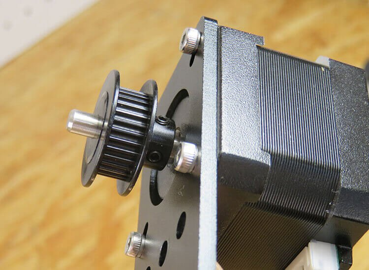 installing timing pulley to x-axis motor unit